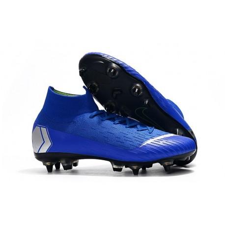 Nike Mercurial Superfly 6 Elite Anti-Clog SG Blue Silver