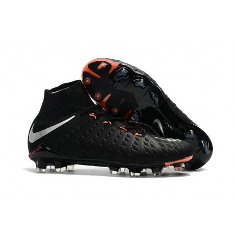 New 2017 Nike Hypervenom Phantom 3 DF FG ACC Soccer Cleats - Black Silver Anthracite