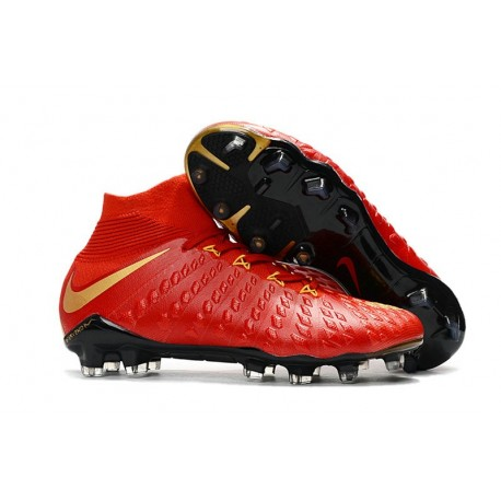New 2017 Nike Hypervenom Phantom 3 DF FG ACC Soccer Cleats Red Gold