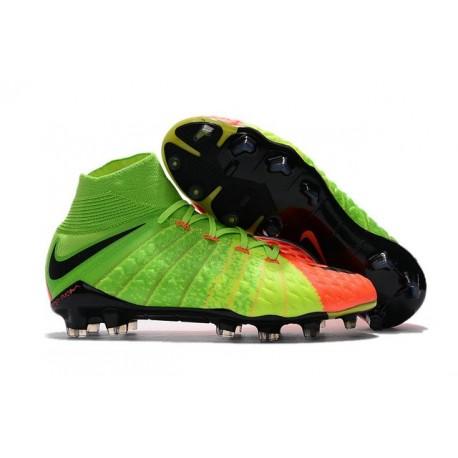 New 2017 Nike Hypervenom Phantom 3 DF FG ACC Soccer Cleats - Electric Green Orange Black