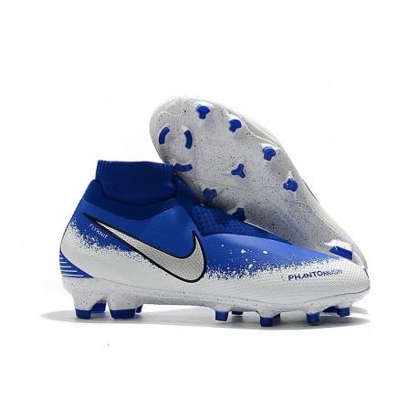 Nike Mens Phantom Vision Elite DF FG Soccer Cleat - Blue White