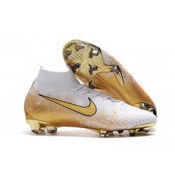 Nike Mercurial Superfly VI FG Soccer Boots White Gold