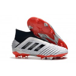 New adidas Predator 19+ FG Soccer Cleats Silver Black Red
