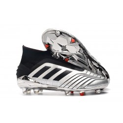 New adidas Predator 19+ FG Soccer Cleats Silver Black