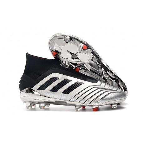 New adidas Predator 19+ FG Soccer Cleats Silver Black