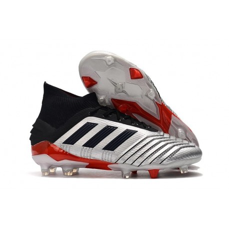 adidas Predator 19.1 FG Firm Ground Boots - Silver Black Red