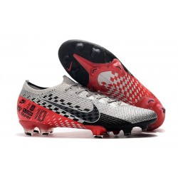 Neymar Nike Mercurial Vapor 13 Elite FG Cleat NJR Chrome Silver Black Red Orbit