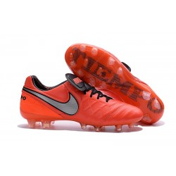 Nike Tiempo Legend VI FG Kangaroo Leather Boots Orange Silver