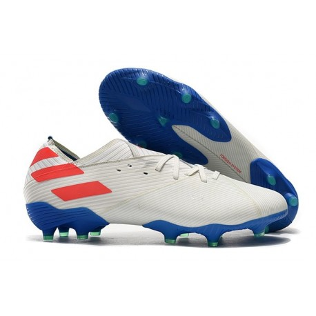 New adidas Nemeziz 19.1 FG Cleat White Blue Red