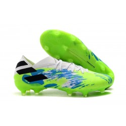 New adidas Nemeziz 19.1 FG Cleat White Blue Green