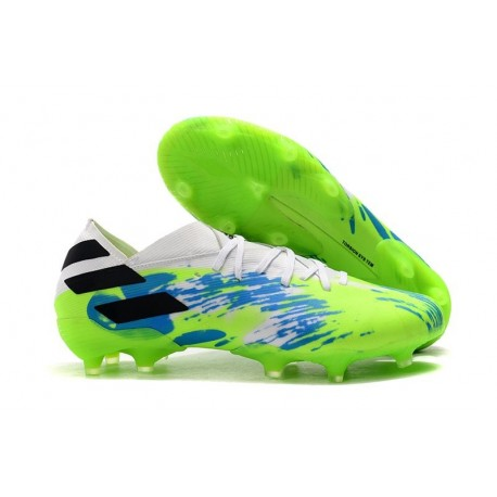 New adidas Nemeziz 19.1 FG Cleat White Blue Green