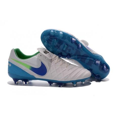 Nike Tiempo Legend VI FG Kangaroo Leather Boots White Blue
