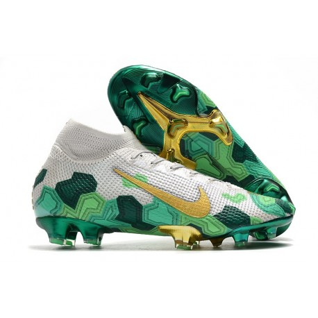 Top Nike Mercurial Superfly VII Elite FG x Mbappé Grey Gold Green