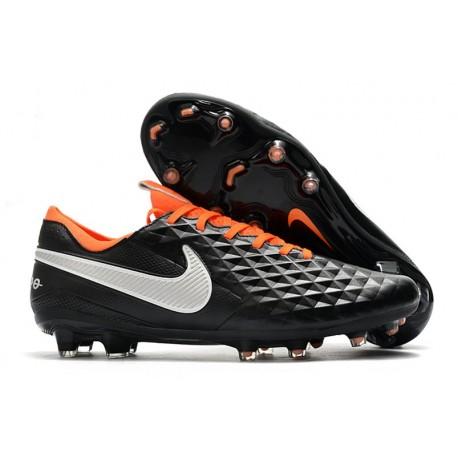 Nike Tiempo Legend 8 Elite FG Firm-Ground Boot Black White Orange
