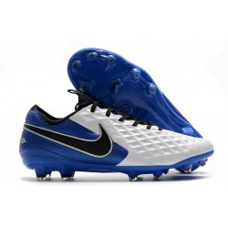 Leather Nike Tiempo Legend VIII Elite FG White Royal Blue Black