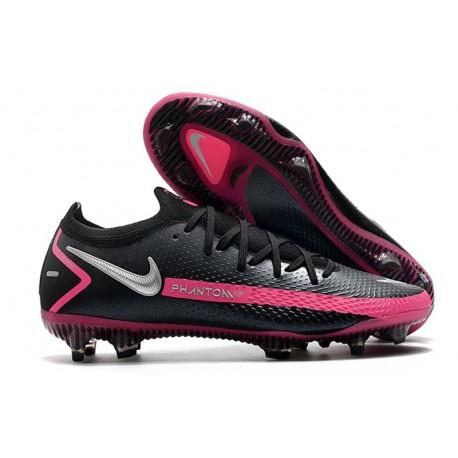 Nike Phantom GT Elite FG New Boots Black Pink Blast Metallic Silver
